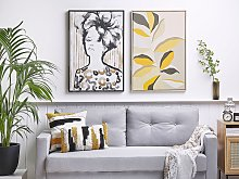 Framed Wall Art Beige and Yellow Print on Paper 63
