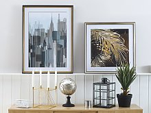 Framed Wall Art Blue and Grey Print Gold and Black