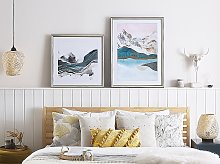 Framed Wall Art Blue and Grey Print on Paper 60 x