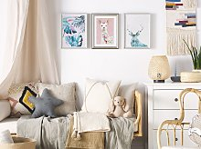 Framed Wall Art Blue and Pink Print on Paper 30 x