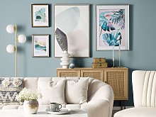 Framed Wall Art Blue and Pink Print on Paper 60 x