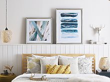 Framed Wall Art Blue Print Brass Frame 60 x 80 cm