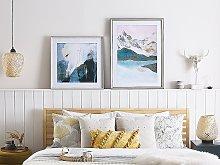 Framed Wall Art Blue Print on Paper 60 x 60 cm