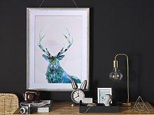 Framed Wall Art Deer Print Blue with White Frame