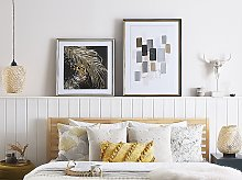 Framed Wall Art Gold and Brown Print on Paper 60 x
