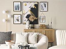 Framed Wall Art Grey Print Brass Frame 30 x 40 cm