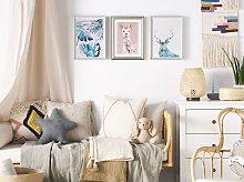 Framed Wall Art Lama Print Pink Brass Frame 30 x