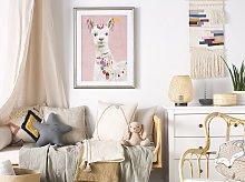 Framed Wall Art Lama Print Pink Brass Frame 60 x