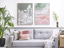 Framed Wall Art Pink and Green Print on Paper 63 x