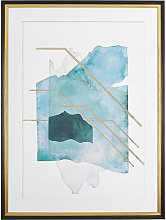 Framed Wall Art Print Blue and Gold Watercolour