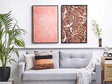 Framed Wall Art Red Print on Paper 63 x 93 cm