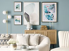 Framed Wall Print Blue and Gold Paper Watercolour