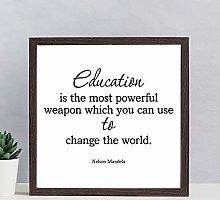Framed Wood Sign Nelson Mandela Quote Print Wooden