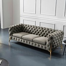 Framingham 3 Seater Chesterfield Sofa Canora Grey