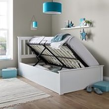Francis White Wooden Ottoman Storage Bed Frame -