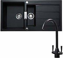 Franke 1.5 Bowl Black Reversible Composite Kitchen