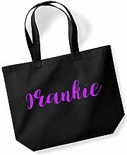 Frankie Personalised Shopping Tote in Black Colour