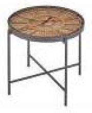 Franklin Side Table Round Clock Fir Wood/Iron