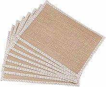 Fransande 8Pcs Linen Table Mat Lace Placemat Set