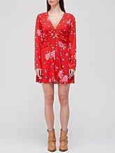 Free People Date Night Printed Mini Tea Dress - Red