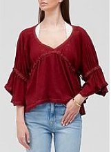 Free People Sand Storm Loose Fitting Top - Red
