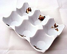 Free Range 6 Eggs Ceramic Tray Holder Storage