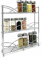 Free Standing Silver Spice Rack Jar Holder with 14