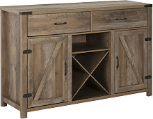 Freestanding 92x140cm Rustic Side Cabinet Drawers