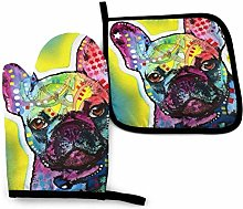 French Bulldog Art Oven Mitts and Potholders,2PCS