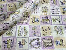 French Lavender Print Cotton Fabric Floral Country
