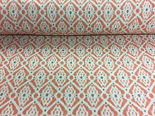 French Petite Ikat Linen Orange Grey Oatmeal