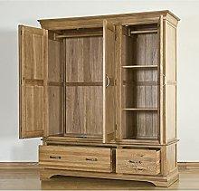 French Solid Oak Triple Wardrobe Home Bedroom