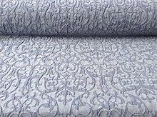 French Vintage Bliss Raised Damask Blue Grey Linen