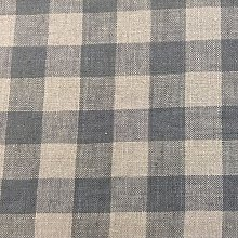 French Vintage Linen Gingham Check Dove Grey