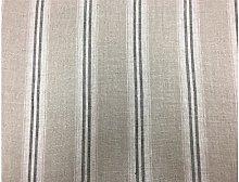 French Vintage Linen Stripe Charcoal Grey