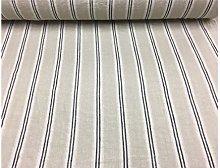 French Vintage Linen Stripe Navy Curtain/Craft &
