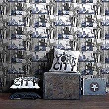 Fresco Blue/Black New York Cityscape Wallpaper