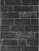 Fresco House Brick Charcoal Wallpaper