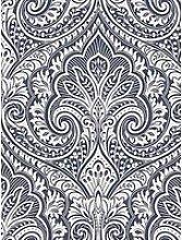 Fresco Jamila Navy / Silver Wallpaper