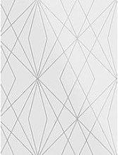 Fresco Laser White / Silver Wallpaper