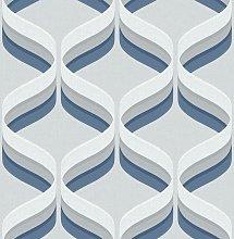 Fresco Retro Ogee Grey & Navy Wallpaper
