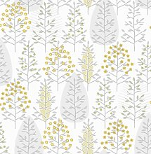 Fresco Scandiscape Ochre Yellow Wallpaper