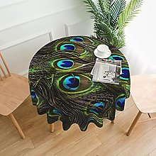 Fresh Peacock Print Round Tablecloth Polyester
