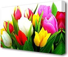 Fresh Tulips Flowers Canvas Print Wall Art East