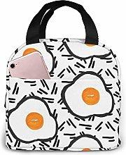 Fried Eggs Pink Flamingo Lunch Bag Cooler Bag,