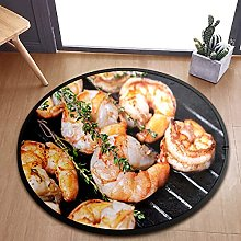 Fried Shrimps With Herbs Area Rugs Round Bedroom