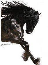 Friesian Horse Print (Horse Wall Art, Friesian