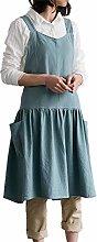FRIUSATE Women Apron Cotton Linen Pocket Baggy