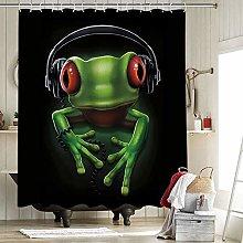 Frog Headphones Fabric Shower Curtain Fabric