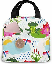 Frog Lotus Gray Cat Divert Attention Lunch Bag